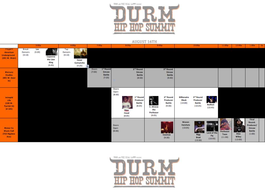 2014 DURM HHS Schedule